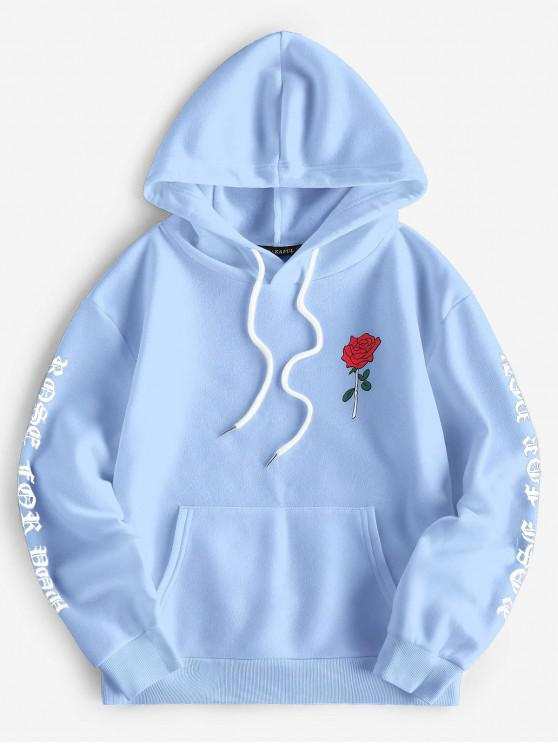 sale ZAFUL Letter Rose Print Drop Shoulder Front Pocket Hoodie - LIGHT BLUE M