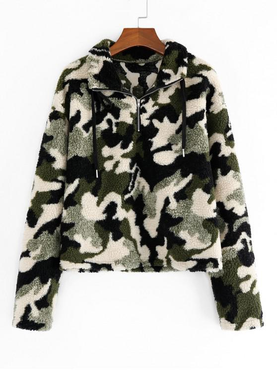 latest ZAFUL Animal Camo Drop Shoulder Quarter Zip Teddy Sweatshirt - MULTI-D XL
