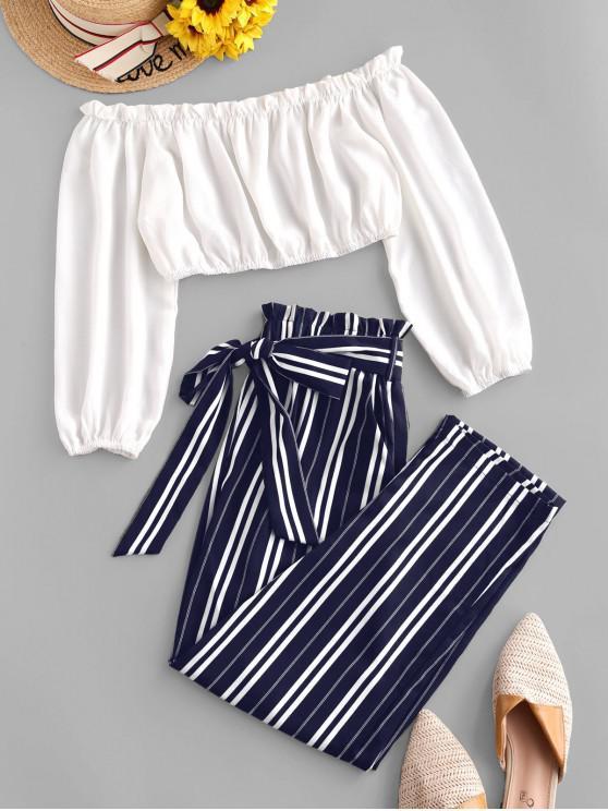 outfit ZAFUL Contrast Off Shoulder Stripes Paperbag Pants Set - MIDNIGHT BLUE M