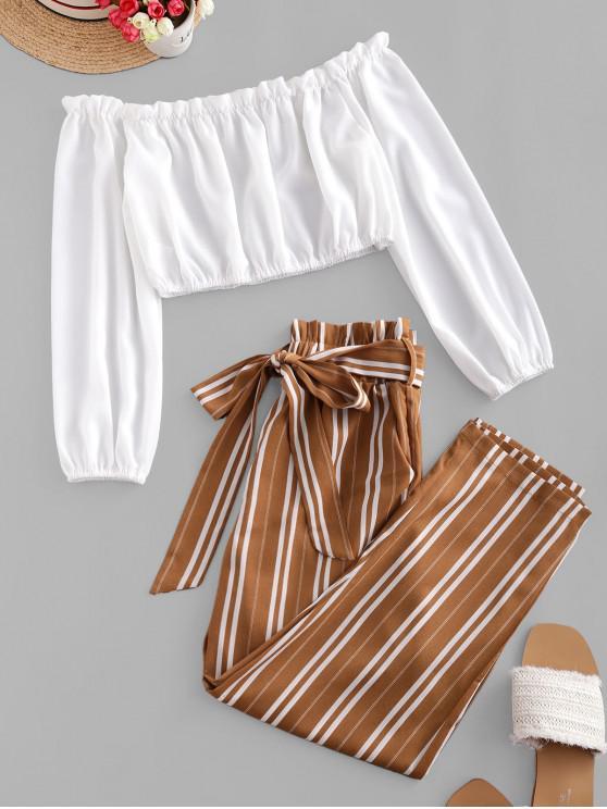 trendy ZAFUL Contrast Off Shoulder Stripes Paperbag Pants Set - BROWN SUGAR XL
