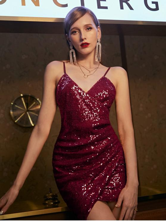 shops ZAFUL Sequins Draped Cami Mini Dress - RED WINE L