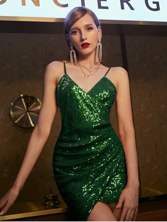 fashion ZAFUL Sequins Draped Cami Mini Dress - MEDIUM FOREST GREEN M