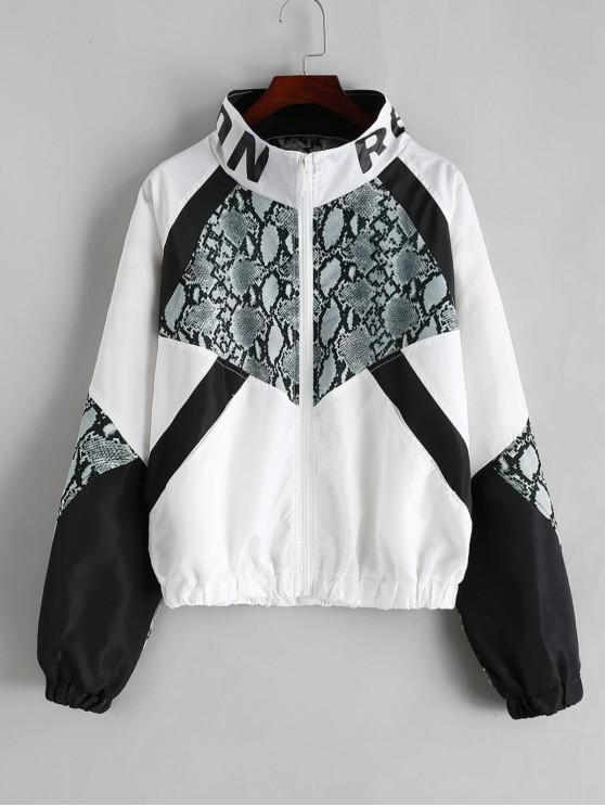 womens Zip Front Snake Leopard Colorblock Windbreaker Jacket - BLACK M