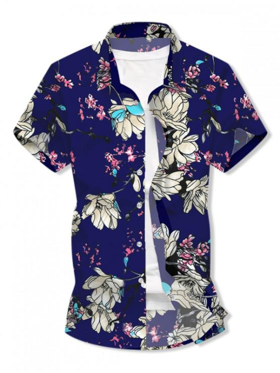 buy Flower Print Button Short Sleeves Shirt - DEEP BLUE 3XL
