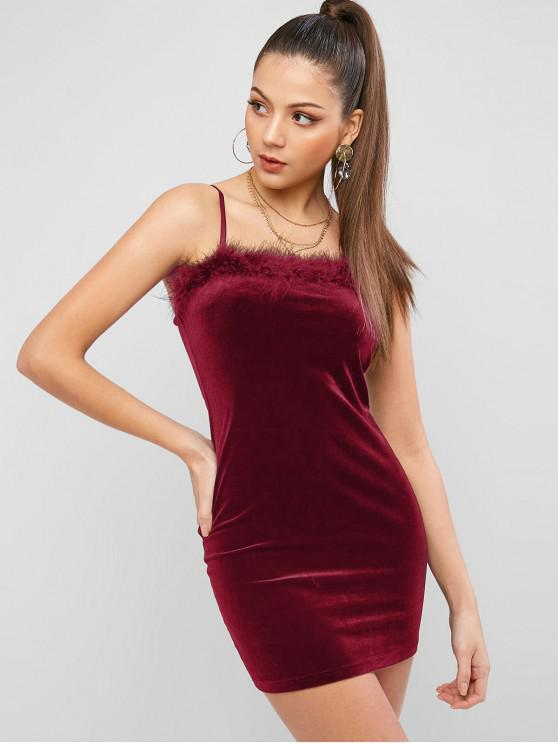 buy ZAFUL Feather Trim Velvet Bodycon Club Dress - FIREBRICK L