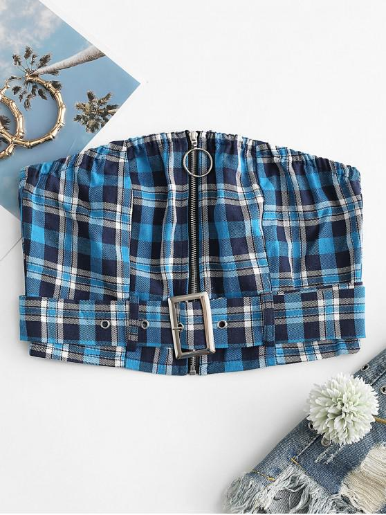 ladies Plaid Belted Zip Crop Bandeau Top - BLUE L