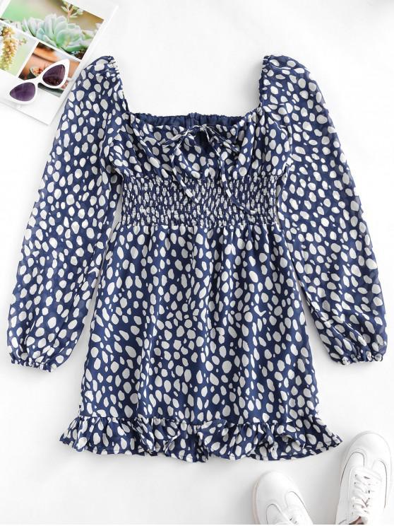 women Dot Print Smocked Tie Flounce Milkmaid Dress - MULTI M