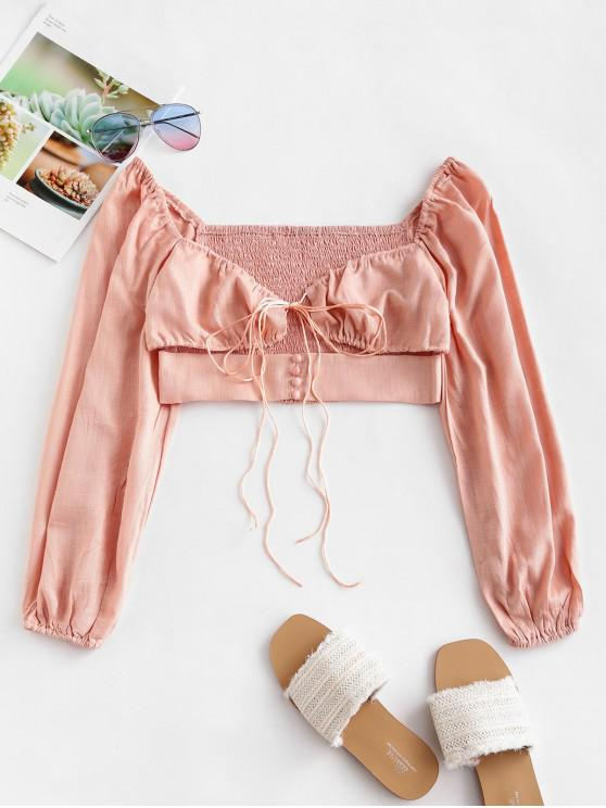 chic Smocked Back Tie Sweetheart Neck Crop Top - PINK L