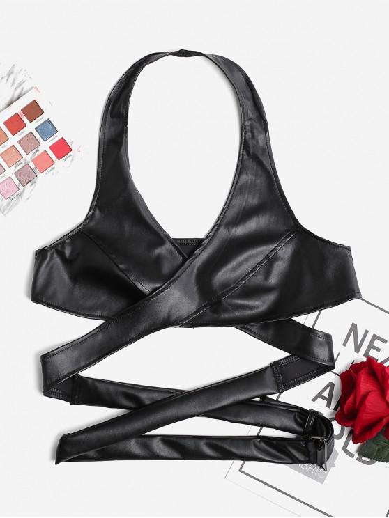 women Halter Backless Crop Wrap Top - BLACK S