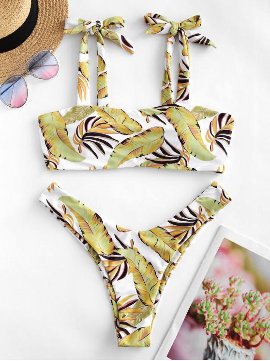ZAFUL Bikini de Corte Alto con Estampado de Hojas Tropicales - Marrón Dorado L