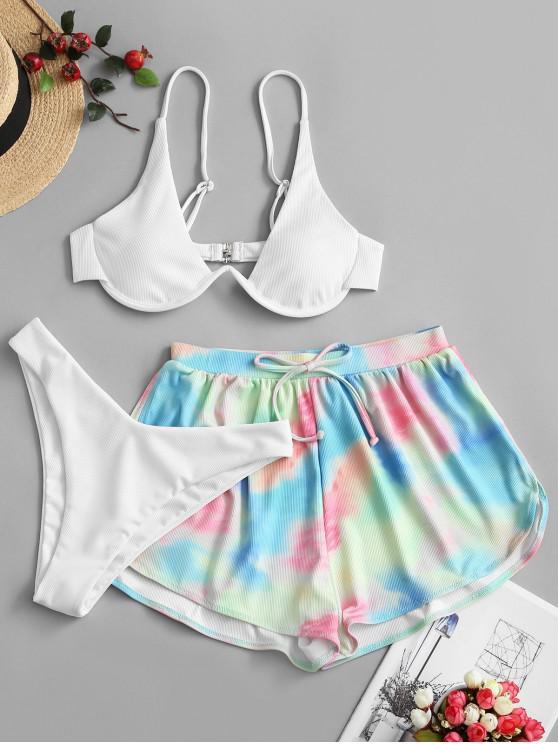 online ZAFUL Tie Dye Underwire Ribbed Three Piece Swimsuit - WHITE M