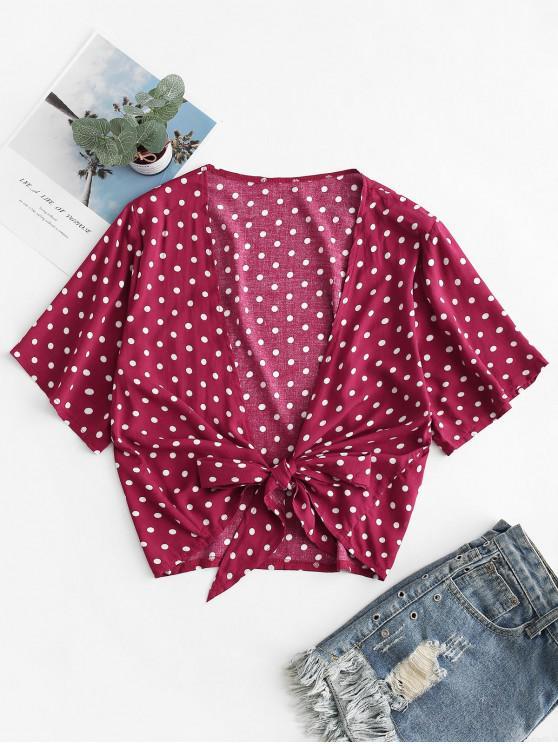 women's V Neck Polka Dot Tie Front Blouse - RED WINE XL