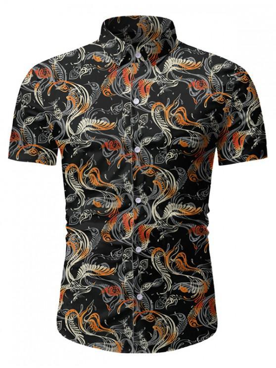 online Novelty Print Button Short Sleeves Shirt - BLACK 3XL