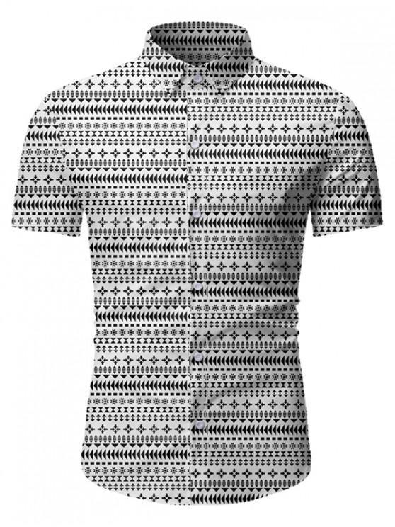 sale Casual Print Short Sleeves Button Shirt - WHITE 3XL