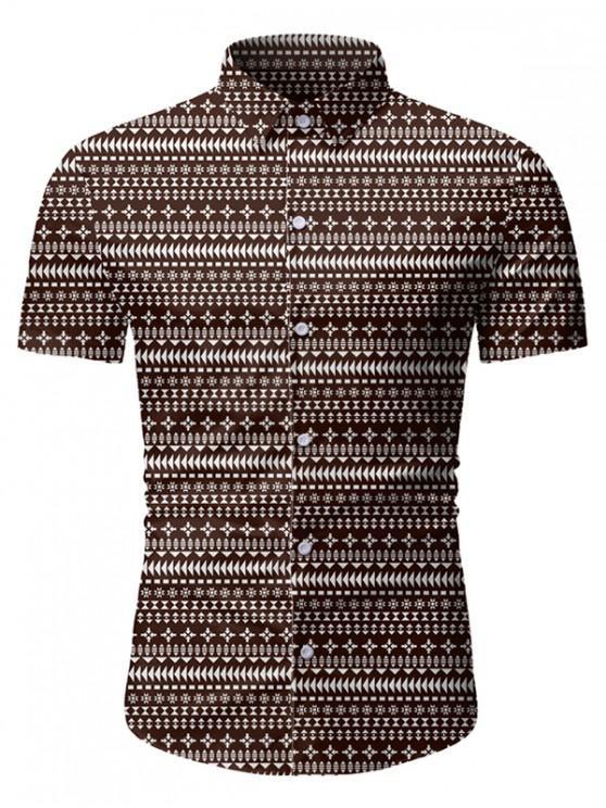 lady Casual Print Short Sleeves Button Shirt - COFFEE 3XL