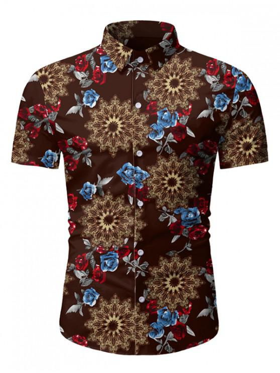 lady Rose Floral Pattern Short Sleeves Shirt - COFFEE 3XL
