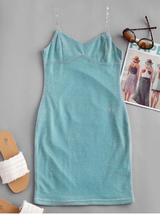 outfits Party Metallic Glittery Bodycon Dress - LIGHT SKY BLUE M
