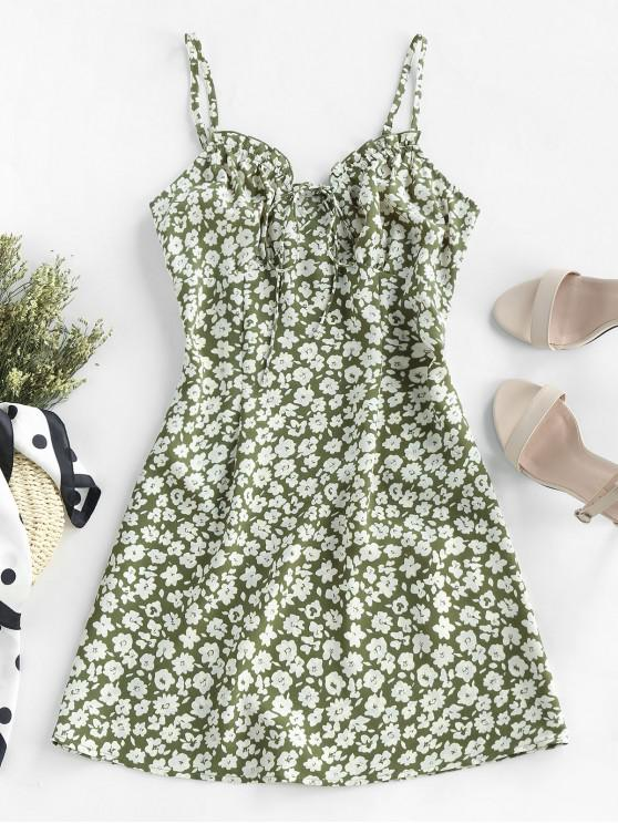 outfit ZAFUL Ditsy Print Frilled Cami Mini Dress - GREEN S