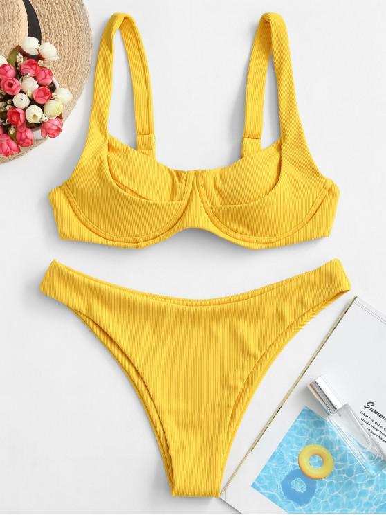 shops ZAFUL Underwire Back Knot Ribbed Bikini Swimsuit - MUSTARD L