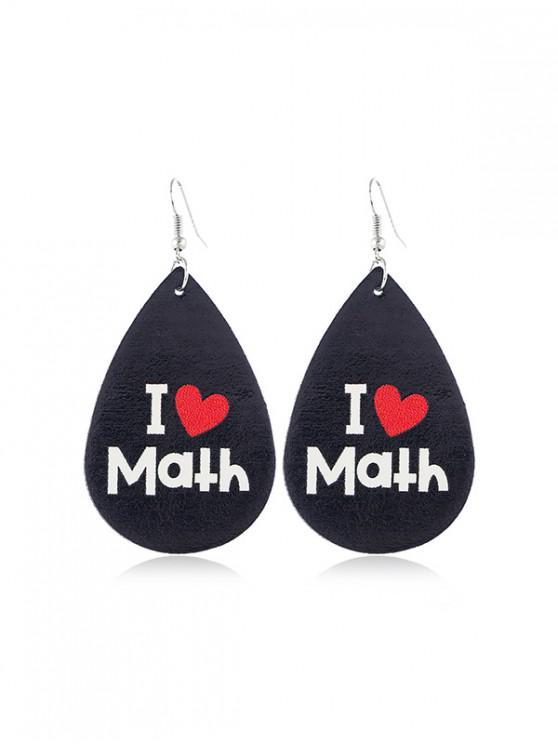 womens Water Drop Leather Letter Earrings - MULTI-A