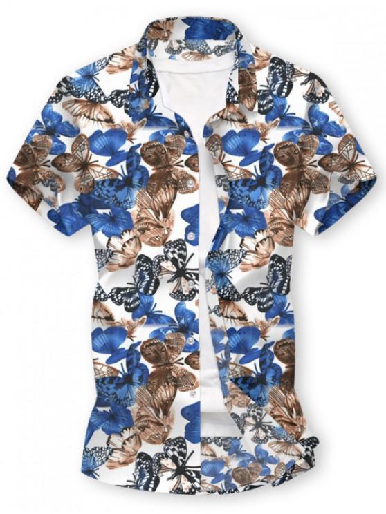 طباعة فراشة زر قميص بأكمام قصيرة - أبيض 2XL