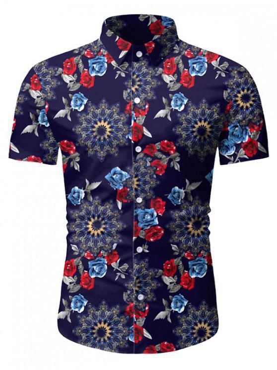 fashion Rose Floral Pattern Short Sleeves Shirt - DEEP BLUE 2XL