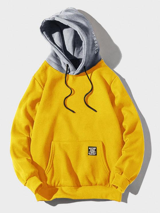 outfits Color-blocking Letter Patch Detail Pouch Pocket Fleece Hoodie - YELLOW XS