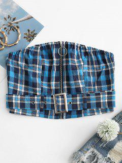 Plaid Belted Zip Crop Bandeau Top - Blue M