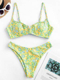 ZAFUL Floral V-wire Lettuce High Cut Bikini Swimsuit - Yellow S