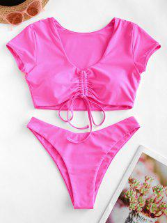 ZAFUL Cinched High Leg Two Piece Swimsuit - Hot Pink S