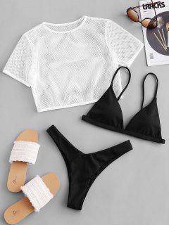 ZAFUL Ribbed High Leg Fishnet Three Piece Swimsuit - Black M