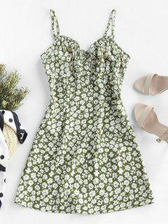 ZAFUL Ditsy Print Frilled Cami Mini Dress - Green S