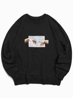 Helping Hands Pattern Casual Sweatshirt - Black M