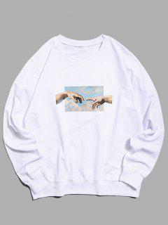 Helping Hands Pattern Casual Sweatshirt - White S