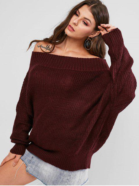 outfit Off Shoulder Solid Loose Sweater - RED WINE S Mobile