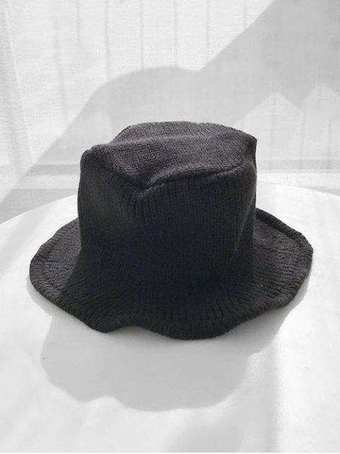 Chapeau d'Hiver Seau Tricoté en Couleur Unie - Noir  Mobile