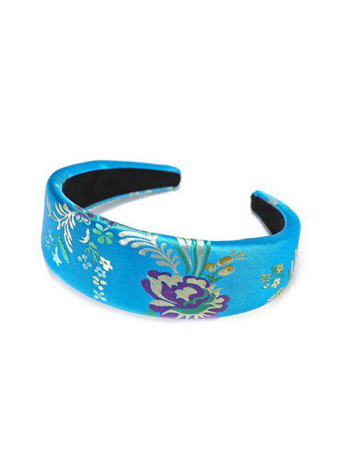 Bandeau en Soie Brodé de Rose et de New Year - Bleu Myrtille  Mobile