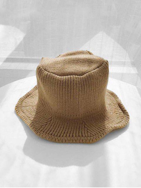 Chapeau d'Hiver Seau Tricoté en Couleur Unie - Kaki  Mobile