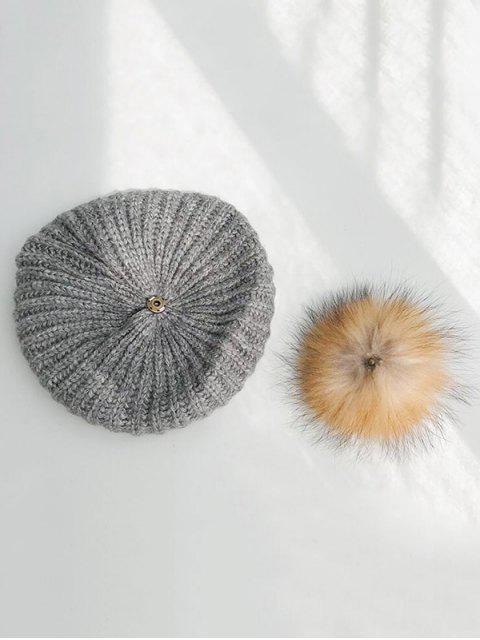 sale Winter Knitted Woolen Yarn Beret Hat - GRAY  Mobile