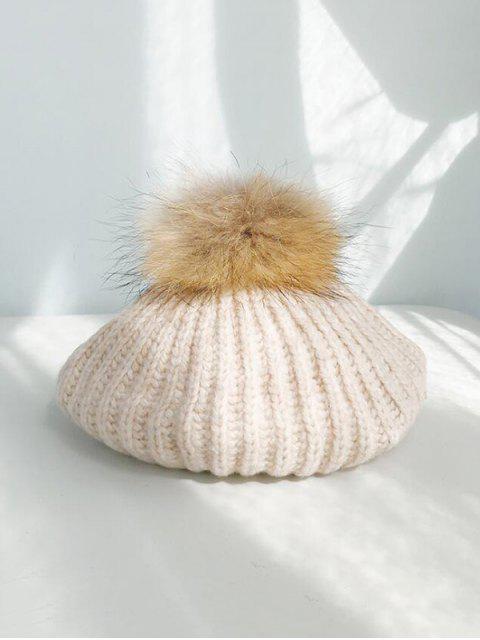 Bonnet d'Hiver Tricoté Fil en Laine - Beige  Mobile