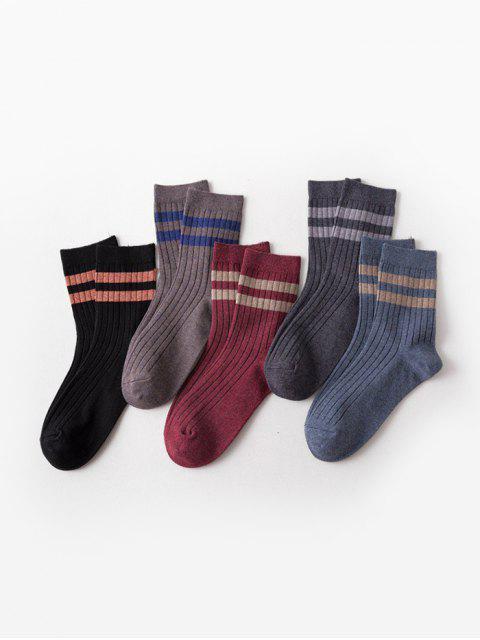 5 пар Повседневные Вязаные Носки Полосатый принт - Многоцветный-A  Mobile