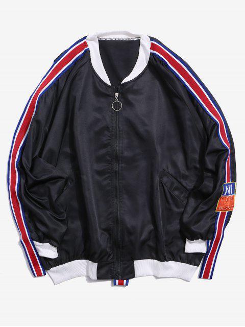 sale Colorblock Letter Graphic Print Raglan Sleeve Jacket - BLACK M Mobile