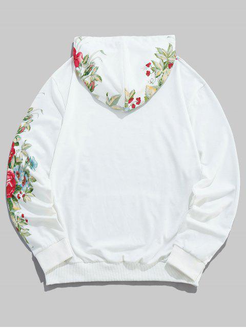ZAFUL花葉印花休閒口袋連帽衫 - 牛奶白色 XL Mobile