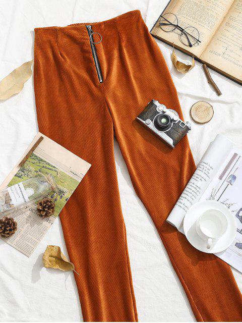 ZAFUL拉環郵編天鵝絨緊身高層褲 - 老虎橙 M Mobile