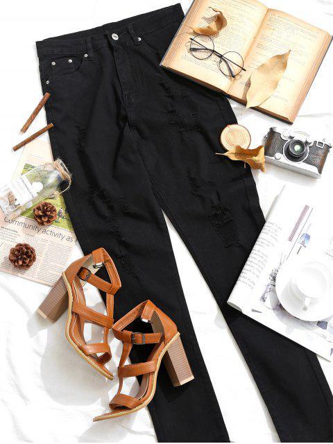 Rasgados de talle alto de bolsillo Vaqueros ajustados - Negro XS Mobile