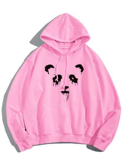 熊貓油墨印刷前袋抽繩連帽外套 - 粉 S Mobile