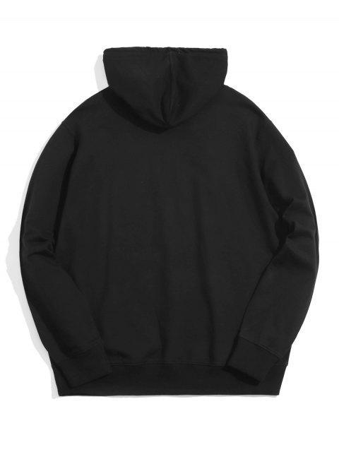 熊貓油墨印刷前袋抽繩連帽外套 - 黑色 XS Mobile