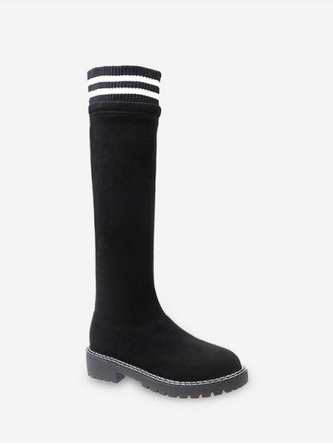 chic Striped Collar Slip On Knee High Boots - BLACK EU 40 Mobile