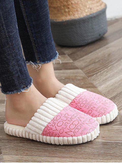 Chaussures Plates Lettre Imprimée Fourrées - Rose  EU 39 Mobile