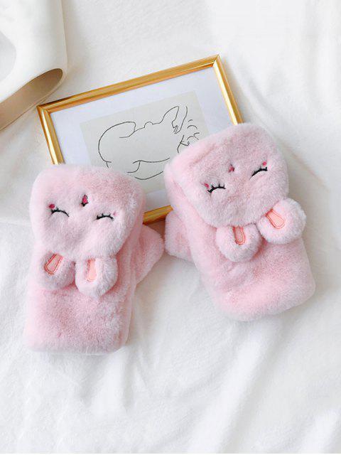 Зимние Перчатки Пушистый шар Кролик - Розовый  Mobile